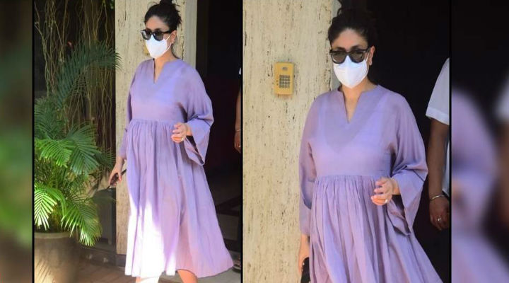 Mom-to-be Kareena Kapoor Khan radiates pregnancy glow in a lavender maternity dress as she gets clicked in the city