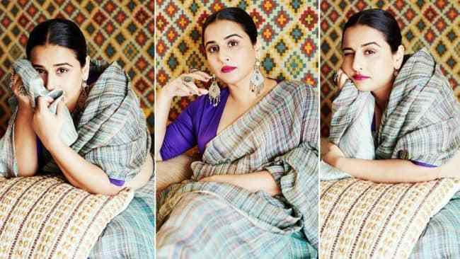 Vidya Balan is an Epitome of Grace in Gorgeous Linen Saree, Purple Blouse And Vintage Jewellery